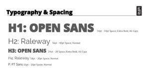 typography and spacing - style guide template